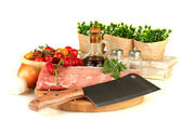 Composition of raw meat, vegetables and spices isolated on white — Stock Photo