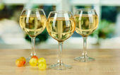 White wine in glass on window background — Stock Photo