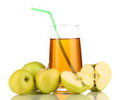 Useful apple juice with apples around isolated on white — Stock Photo