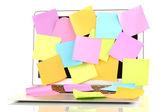 Laptop met lege stickers geïsoleerd op wit — Stockfoto