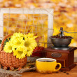 Royalty-Free Stock Photo: Autumnal composition:coffee grinder, flowers  and leaves on bright background