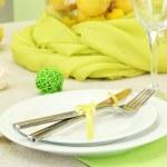 Beautiful holiday table setting with lemons, close up — Stock Photo #16303417