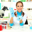 Young scientist in laboratory — Stock Photo #16303765