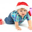 Little boy with gift, isolated on white — Stock Photo