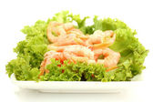 Boiled shrimps with lettuce leaves on plate, isolated on white — Stock Photo