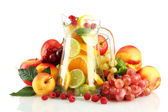 Transparent jar with exotic fruits, isolated on white — Stock Photo