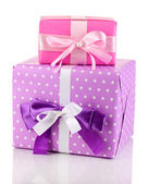 Colorful pink and purple gifts isolated on white — Stock Photo