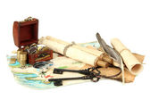 Map and treasures, isolated on white — Stock Photo