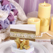 Serving fabulous wedding table in purple and gold color on white and purple fabric background — Stock Photo
