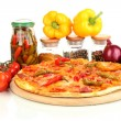 Tasty pepperoni pizza with vegetables on wooden board isolated on white - Stock Photo