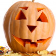 Royalty-Free Stock Photo: Halloween pumpkin and autumn leaves, isolated on white