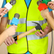 Stock Photo: Conference meeting microphones and road worker