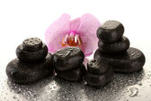 Spa stones and orchid flower, on wet background — Stock Photo