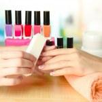 Manicure process in beauty salon, close up — Stock Photo #16596611