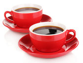 A red cups of strong coffee isolated on white — Stock Photo