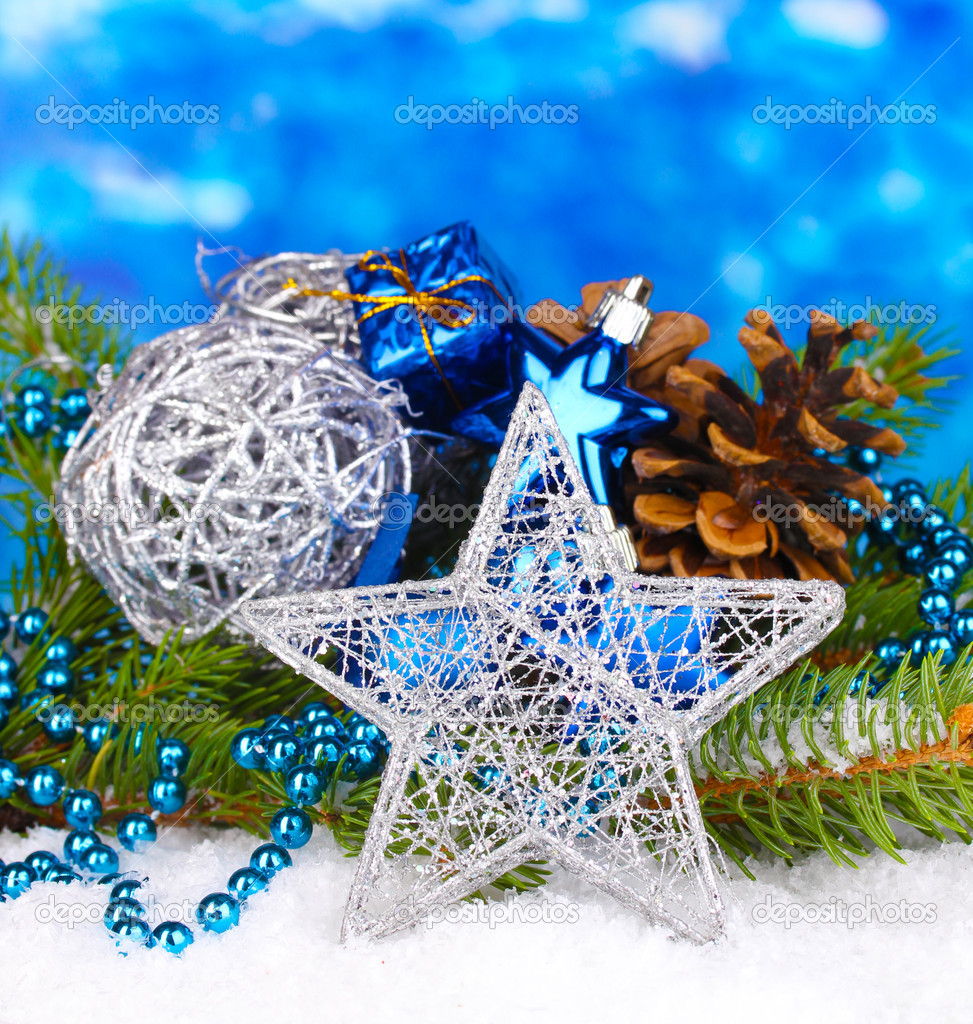 Christmas decoration on blue background — Stock Photo #16603783