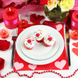 Table setting in honor of Valentine's Day close-up — Lizenzfreies Foto