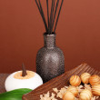 Aromatherapy setting on brown background — Stock Photo #16769549