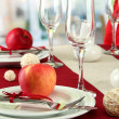 Beautiful holiday table setting with apples, close up — Stock Photo #16773645