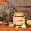Honey and others natural medicine for winter flue, on wooden background — Stock Photo #16778385