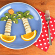 Fun food for kids on wooden background — Stock Photo #16804101