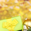 Christmas decoration on yellow background — Lizenzfreies Foto