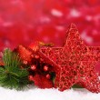Christmas decoration on red background - Foto Stock