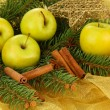 Beautiful christmas composition on golden cloth - Stock Photo