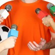 Conference meeting microphones and footballer — Stock Photo #16805057
