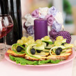 Canapes and wine in restaurant - Stock Photo