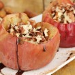 Baked apples on plate close up — Stock Photo
