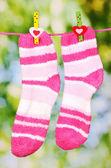 Pair of striped socks hanging to dry — Foto de Stock