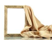 Leeg frame met zijde, geïsoleerd op wit — Stockfoto