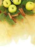 Beautiful christmas composition on golden cloth — Stok fotoğraf