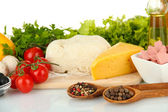 Ingredients for pizza isolated on white — Stock Photo