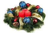 Beautiful Christmas wreath isolated on white — Stock Photo