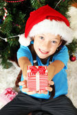 Little girl holding gift box near christmas tree — Stok fotoğraf