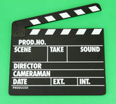 电影生产拍板板颜色背景上 — 图库照片