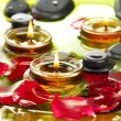 Spa stones with rose petals and candles in water on plate — Stock Photo #16865203