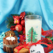 Stock Photo: Cookies for Santa: Conceptual image of ginger cookies, milk and christmas decoration on blue background