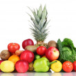 Stock Photo: Composition with vegetables and fruits isolated on white