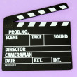 Movie production clapper board on color background — Stok Fotoğraf #16873389