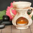 Aromatherapy lamp on grey background — Stock Photo
