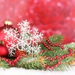 Christmas decoration on red background — Stock Photo