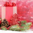 Christmas decoration on red background — Stock Photo #16874483