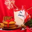 Cookies for Santa: Conceptual image of ginger cookies, milk and christmas decoration on red background — Stock Photo #16874527