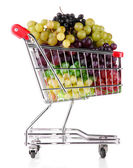 Assortment of ripe sweet grapes in shopping trolley isolated on white — Foto de Stock