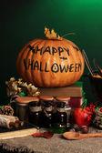 Detail foto van enge halloween-laboratorium in groen licht — Stockfoto