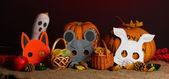 кошелек или жизнь хэллоуина маски и ведра заполнены с куки на цвет фона — Стоковое фото