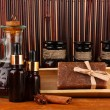 Stockfoto: Ingredients for soap making on brown background